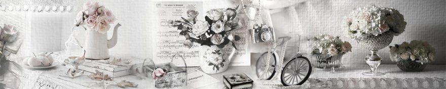 Изображение для стеклянного кухонного фартука, скинали: цветы, розы, посуда, коллаж, жемчуг, винтаж, fartux1006