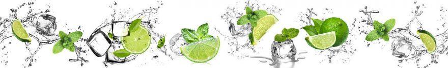 Изображение для стеклянного кухонного фартука, скинали: фрукты, лед, лайм, fartux984