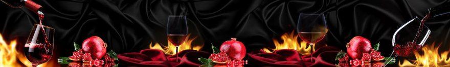 Изображение для стеклянного кухонного фартука, скинали: вино, бокал, огонь, гранаты, fartux986